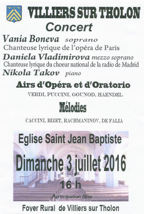 Villiers sur Tholon concert 3 juillet 2016