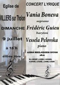 Concert lyrique Villiers sur Tholon 01